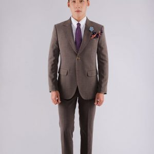 Vest Nam Herringbone Brown V57-01